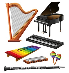 Different kind of musical instruments vector
