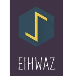 Eihwaz rune of elder futhark in trend flat style vector