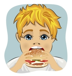 Obese fat boy eating chicken cheese hamburger vector