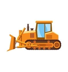 Orange bulldozer icon cartoon style vector