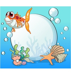 An ugly fish under the sea near the pearls vector
