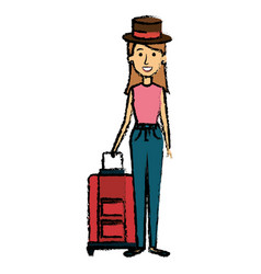 beautiful girl with suitcase and hat vector image