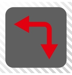 Bifurcation arrow left down rounded square button vector