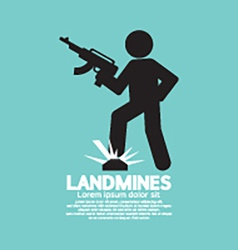 Black symbol of a soldier step on landmines vector