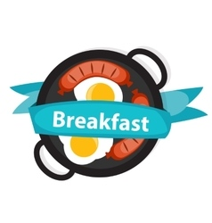 Breakfast scrambled eggs with sausage icon in vector