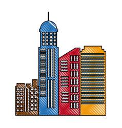 cityscape skyline town architecture skyscrapers vector image