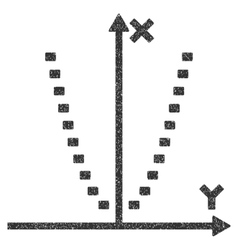 Dotted parabola plot grainy texture icon vector