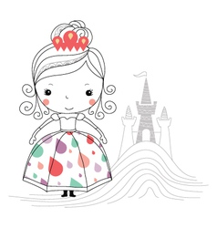Fairytale princess -rain kids vector