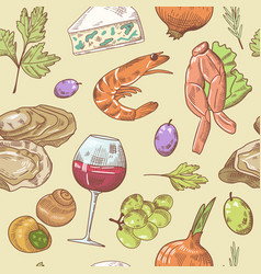 French cuisine hand drawn seamless pattern vector
