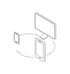 Gadgets synchronization icon isometric 3d style vector image vector image