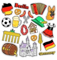 Germany travel scrapbook stickers patches badges vector