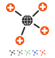 Global medical links flat icon vector