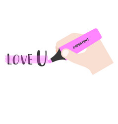 Hand holding pink highlighter vector