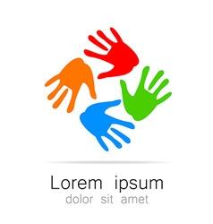 hand print logo template vector image vector image