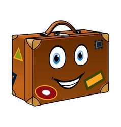 Happy well travelled cartoon suitcase vector image