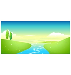 Lake and green landscape vector image