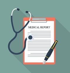 Medical report with stethoscope and pen vector image