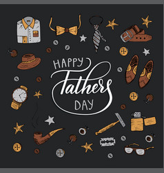 Quote happy father s day excellent holiday card vector
