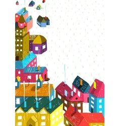 Small town or city with houses roofs landscape vector