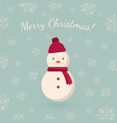snowman on winter backdrop vector image vector image