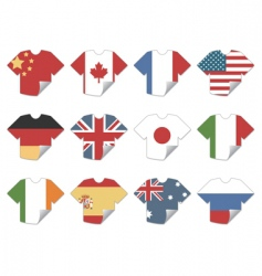 t-shirt flag stickers vector image vector image