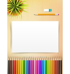 Top view of stationary blank paper and color vector image