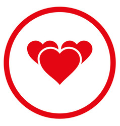 valentine hearts rounded icon vector image