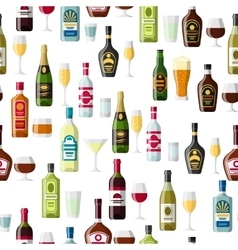 Alcohol drinks seamless pattern Bottles glasses vector image