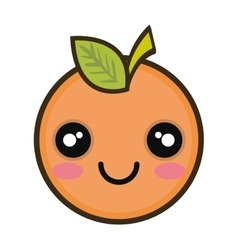 Kawaii cartoon orange fruit vector