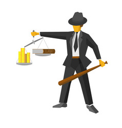 retro mafia man with balance like god of justice vector image