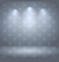 Gray studio background with stars and lights vector