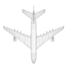 top view of airplane in wire-frame style vector image