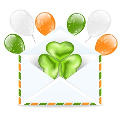 Envelope with clover and clorful ballons isolated vector