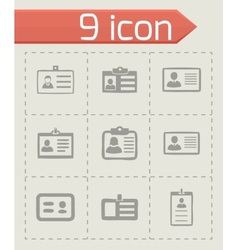Id card icons set vector