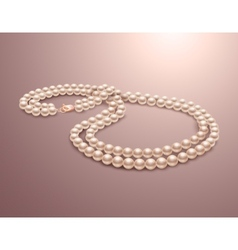 Pearl necklace realistic vector image