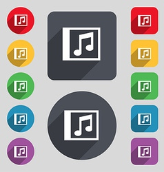 Audio mp3 file icon sign a set of 12 colored vector