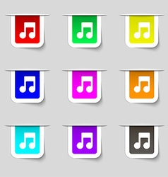 Music note icon sign set of multicolored modern vector