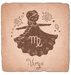 Virgo zodiac sign horoscope vintage card vector