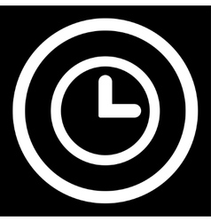 Clock flat white color rounded icon vector