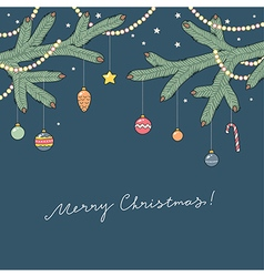 christmas card blue vector image