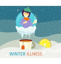 Winter illness season people design vector