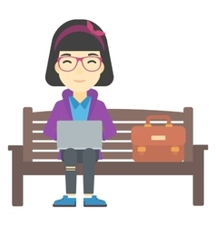 Woman working on laptop vector