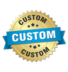 Custom 3d gold badge with blue ribbon vector