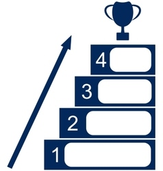 Four stages to success and the cup upstairs vector
