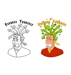 A man in search of ideas with an open head silent vector image vector image