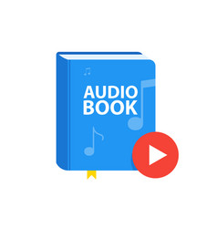 Audio book icon with download play button online vector