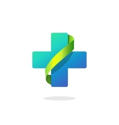 Blue medical cross logo pharmacy symbol vector