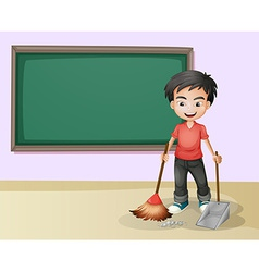 Boy cleaning vector image