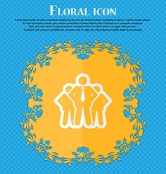 business team Floral flat design on a blue vector image vector image