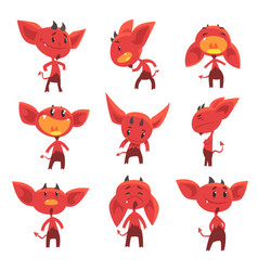 Cartoon funny red devil characters with different vector